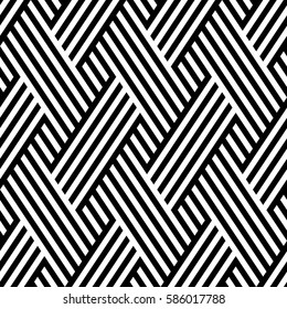 Vector seamless pattern. Modern stylish texture. Monochrome geometrical pattern. Interlacing bands.