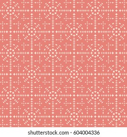 Vector seamless pattern. Modern stylish texture. Repeating geometric tracery. Contemporary graphic design. Pink color Background.