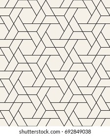 Vector seamless pattern. Modern stylish texture with thin monochrome trellis. Repeating geometric hexagonal grid. Simple graphic design. Trendy hipster sacred geometry.