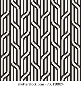 Vector seamless pattern. Modern stylish texture. Geometric striped ornament. Monochrome bold braids.