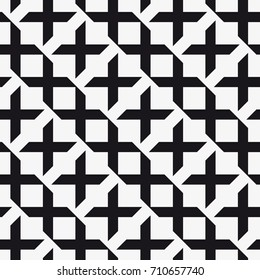 Vector seamless pattern. Modern stylish texture. Repetition of the geometric tiles with crosses.
