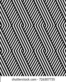 Vector seamless pattern. Modern stylish texture. Monochrome geometric pattern with rhombuses against the background of oblique bands