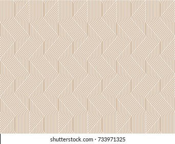Vector seamless pattern. Modern stylish texture. Geometric striped ornament. woven brown