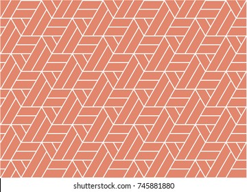 Vector seamless pattern. Modern stylish texture with white on pink background. Repeating geometric triangular grid. Simple graphic design. Trendy hipster line geometry Design for textile, wallpaper