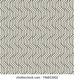 Vector seamless pattern. Modern stylish texture. Geometric striped ornament. Monochrome linear background