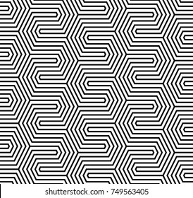 Vector seamless pattern. Modern stylish texture. Repeated geometric pattern with hexagonal tiles