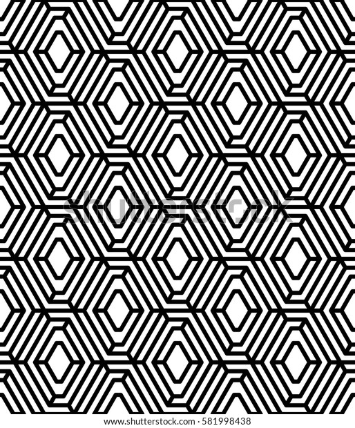 Vector seamless pattern. Modern stylish texture. Monochrome geometrical pattern. The grid of hexagonal cells.