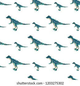 Vector seamless pattern in Mondriaan (Mondrian) style blue big and small dinosaurs located staggered on a white background for carpet, baby bedding, textile, wallpaper, wrapping.