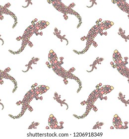 Vector seamless pattern in Mondriaan (Mondrian) style big and small pink lizards on a white background for baby bedding, textile, wallpaper, wrapping, furnishings, upholstery.