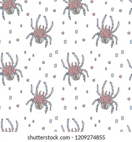 Vector seamless pattern in Mondriaan (Mondrian) style blue and pink spiders on a white background for baby bedding, textile, wallpaper, wrapping, furnishings, upholstery.