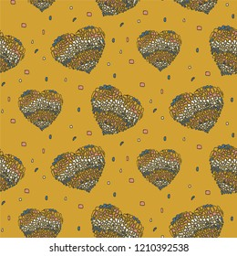Vector seamless pattern in Mondriaan (Mondrian) style colorful hearts on a ochre color background for bedding, textile, wallpaper, wrapping, furnishings, upholstery.
