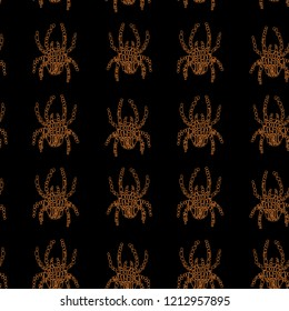 Vector seamless pattern in Mondriaan (Mondrian) style orange color spiders on a black background for bedding, textile, wallpaper, wrapping, furnishings, upholstery, carpet.