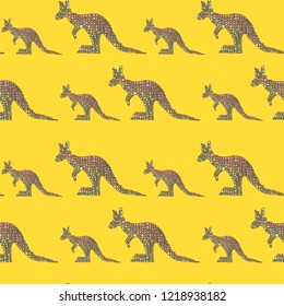 Vector seamless pattern in Mondriaan (Mondrian) style big and small pink kangaroo on a bright yellow background for baby bedding, textile, wallpaper, wrapping, furnishings, upholstery.