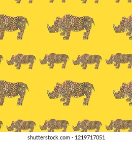 Vector seamless pattern in Mondriaan (Mondrian) style big and small pink pink dinosaur rhinoceros on a bright yellow background for baby bedding, textile, wallpaper, wrapping, furnishings, upholstery.