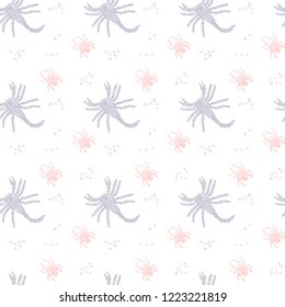 Vector seamless pattern in Mondriaan (Mondrian) style violet scorpions and pink spiders on a white background for bedding, textile, wallpaper, wrapping, furnishings, upholstery, cover page.