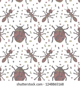 Vector seamless pattern in Mondriaan (Mondrian) style pink ladybugs and ants on a white background for bedding, textile, wallpaper, wrapping, furnishings, upholstery, cover page.