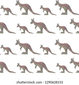 Vector seamless pattern in Mondriaan (Mondrian) style big and small multicolored kangaroo on a white background for baby bedding, textile, wallpaper, wrapping, furnishings, upholstery, cover, web, ban