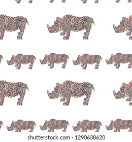 Vector seamless pattern in Mondriaan (Mondrian) style big and small multicolored dinosaur rhinoceros on white background for baby bedding, textile, wallpaper, wrapping, cover page, banner.
