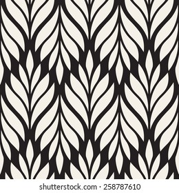 Vector seamless pattern. Monochrome ornament with stylized leaves. Geometric stylish background. Vector repeating texture. Modern graphic design.