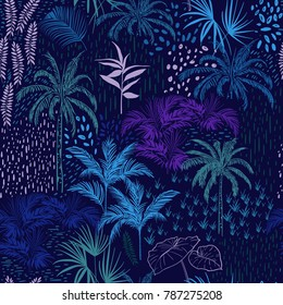 Vector seamless pattern of monotone blue forest for summer tropical prints mixed with colorful hand painting polka dots and exotic trees.