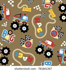 vector seamless pattern with monster truck race cartoon