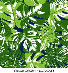 Vector Seamless Pattern with Monstera Leaves. Beautiful Hand-drawn Background with Philodendron in Watercolor Style. Exotic Graphic Illustration with Jungle Foliage. Seamless Tropical Leaf Pattern.