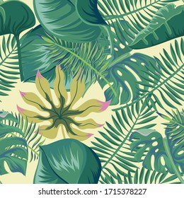 Vector seamless pattern of monstera palm leaves and other tree species.