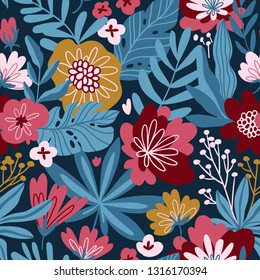Vector seamless pattern with moody flowers on the dark blue background. Romantic design for natural cosmetics, perfume, women products. Can be used as greeting card or wedding background