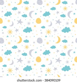 Vector seamless pattern with moon, cloud and stars. Children vector illustration on white background.