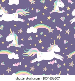 Vector seamless pattern with mugical unicorns. Design for wallpaper, phone case, poster, t-shirt, mug, child books etc.