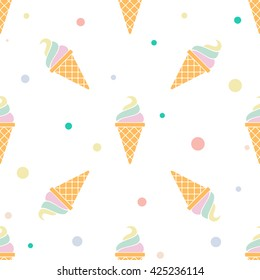 Vector seamless pattern with multicolor ice cream on white background. Frozen dessert background. Design for summer fashion textile print, wrapping paper, web backgrounds, cafe.