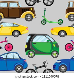 Vector seamless pattern of multicolored different cars, bicycles and scooters. Against a gray background