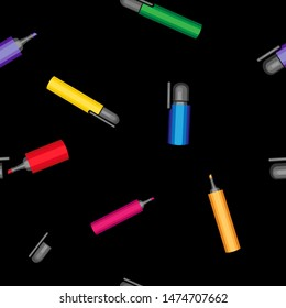 Vector seamless pattern. Multi-colored markers, open and closed. On a black background