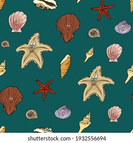 Vector seamless pattern Multicolored shells and starfishes on blue background. Design elements for textile, cover, ceramics, decoration