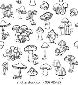 Vector seamless pattern of mushroom and toadstools