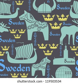 Vector seamless pattern with national symbols of Sweden on the blue background