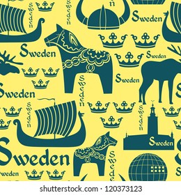 Vector seamless pattern with national symbols of Sweden on the yellow background