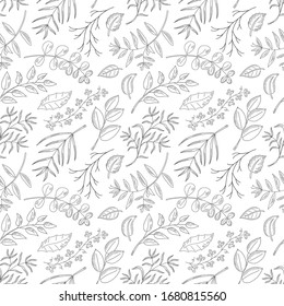 Vector seamless pattern with natural leaves, herbs, grass and branch. Vintage sketches hand drawn illustration background. Line art style.