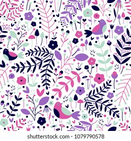 Vector seamless pattern of navy blue, mint green, pink and purple birds, laurels, vines, berries, flowers and hearts on a white background. Great for dressmaking and home decor fabric.