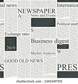 Vector seamless pattern with newspaper columns. Text in newspaper page unreadable. Old newspaper with black text, repeating newspaper vector background with headings.