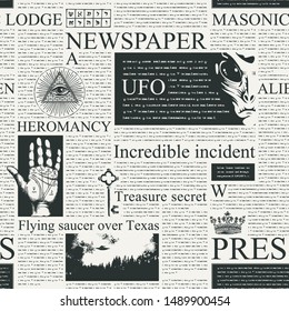 Vector seamless pattern with newspaper columns. Repeatable newspaper background with black unreadable text, headlines, illustrations on the theme of magic, metaphysics, palmistry, alien civilizations