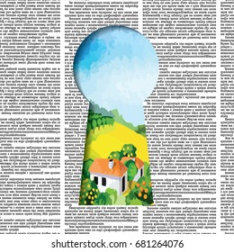 "Vector seamless pattern with newspaper columns and rural landscape in ""keyhole"" shaped hole. Text in newspaper page unreadable."