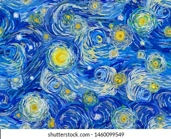Vector seamless pattern of a night sky with swirly clouds, stars and glowing moon, in the style of impressionist paintings.