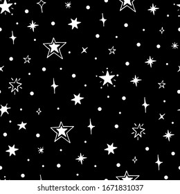 Vector seamless pattern of night starry sky. For design of surfaces, prints, wrapping paper, postcards, posters, printing. Theme space, Cosmonautics Day, astronomy, sky, stars