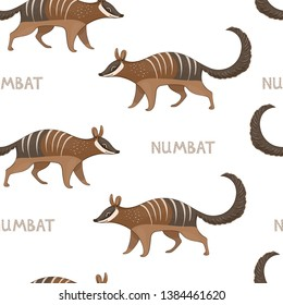 Vector seamless pattern with numbats. Colored seamless background