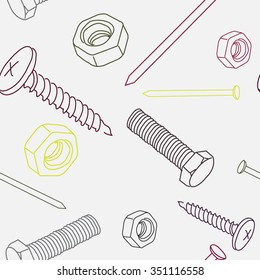 Vector seamless pattern with nut. screw, nail. Vector illustration.