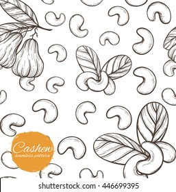 Vector seamless pattern with nuts in vintage style. Linear silhouettes outline plant cashew