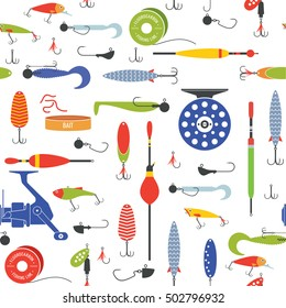 Vector seamless pattern with objects of fishing equipment