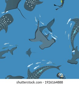 vector seamless pattern ocean ,A diver swims with whales, stingrays and Hammerhead shark in the ocean.