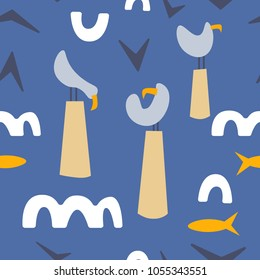 Vector seamless pattern. Ocean flat scandinavian background with seagull, fish and waves. Trendy graphic design. Textile, blog decoration, banner, poster, wrapping paper.